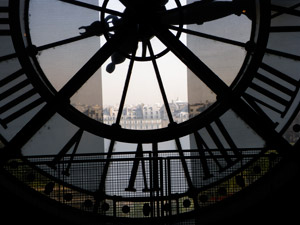 Paris view through the Clock at the Musee d'Orsay