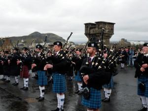 Bagpipers outside Edinburgh Castle