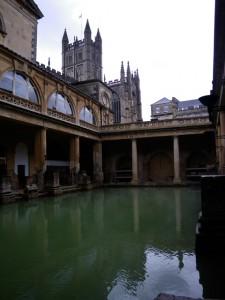 Roman Baths with Bath Abbey in the background